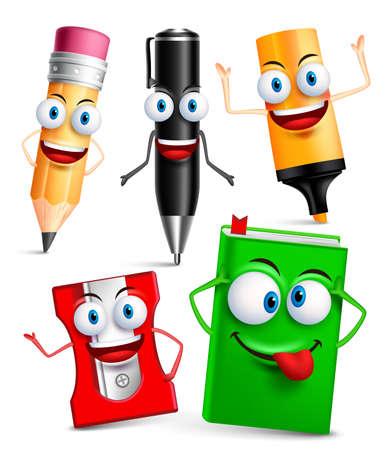 Vector karakter van school artikelen grappige mascotte 3D set met gebaren en gezichtsuitdrukkingen geïsoleerd in een witte achtergrond. vector illustratie