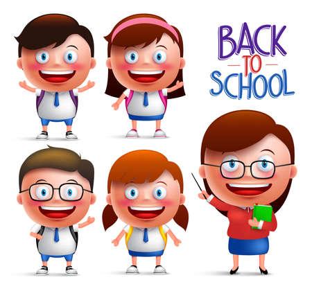 director de escuela: Los estudiantes y el profesor de vectores conjunto de caracteres de los niños y niñas en los uniformes de regreso a la escuela aislado en el fondo blanco. ilustración vectorial