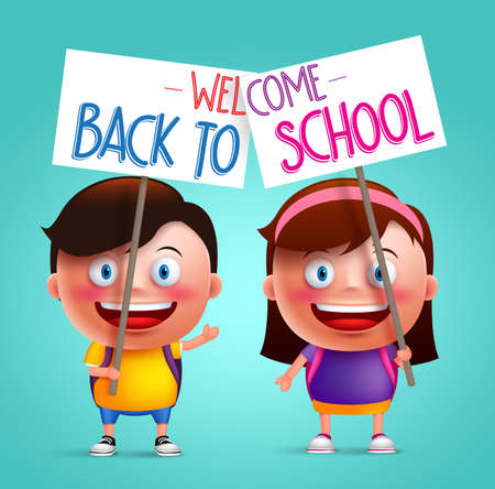 gradeschool: Boy and girl student vector character with happy smile holding placard or signboard with colorful back to school text written. Vector illustration