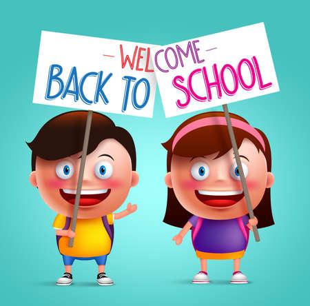 Chico y chica estudiante vector de caracteres con sonrisa feliz celebración de cartel o letrero con el colorido de nuevo a la escuela texto escrito. ilustración vectorial Ilustración de vector