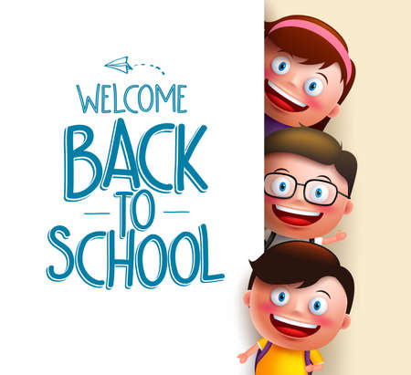 Kids student vector characters holding white board with blank space for text with welcome back to school written. Vector illustration Ilustração