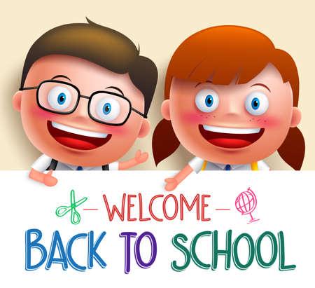 男の子と女の子の学生ベクトル文字学校に戻るのテキストのためのスペースを均一保持ホワイト ボードを着てします。ベクトル図