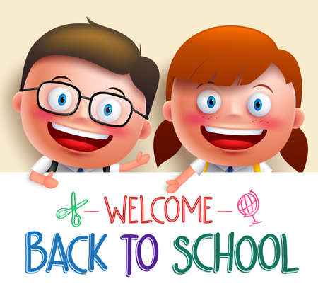 gradeschool: Boy and girl student vector character wearing uniform holding white board with space for text for back to school. Vector illustration