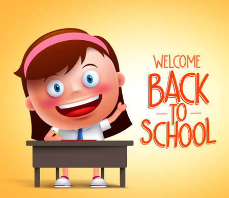 the writing: Girl student vector character in realistic 3D sitting in a desk raising hand and writing in yellow background with back to school text. Vector illustration Illustration
