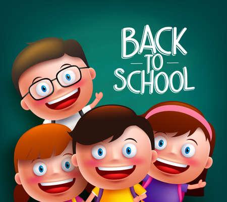 Compañeros de clase los niños personajes de vectores con las caras felices inteligentes para volver a la escuela con las mochilas en un fondo de pizarra. ilustración vectorial
