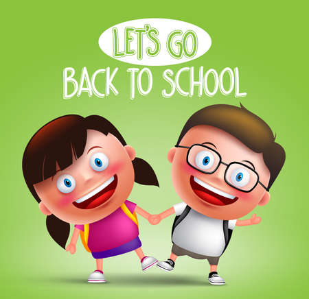 Kids student vector characters holding hands happy going to school wearing backpacks in green background with back to school text. Vector illustration Illustration