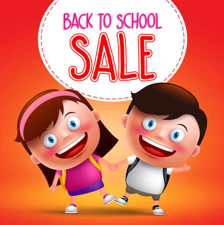 gradeschool: Back to school sale text with kids students vector character happy holding hands while walking with backpack going to school. Vector illustration. Illustration