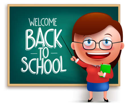 gradeschool: Back to school teacher funny 3D vector character wearing eyeglasses teaching in a chalkboard isolated in white background. Vector illustration