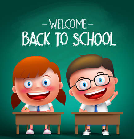 Students vector characters sitting in the desk in a classroom raising hands and writing with back to school text in the background. Vector illustration