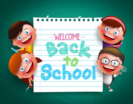 gradeschool: Back to school colorful  text written in paper with funny kids vector characters holding school items. Vector illustration