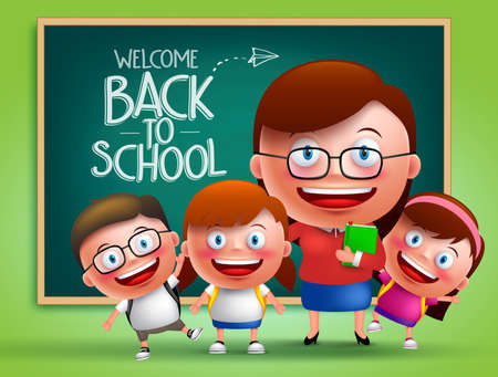 Teacher and students vector characters in front of classroom with chalk board at the back with back to school written. Vector illustration