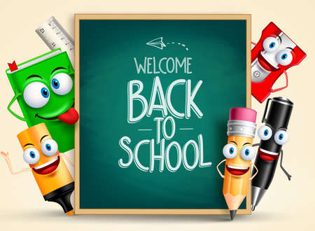 School vector characters of funny pencil, pen, sharpener and other school items holding blackboard with back to school writing. Vector illustration Ilustração