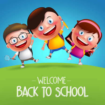 Back to school students vector characters funny boys and girls kids jumping in horizon going to school with backpack bag. Vector illustration