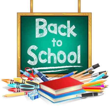 reading materials: Back to School Hanging Green Chalkboard with School Items on White Background. Vector Illustration