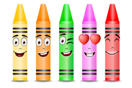 Five Different Color Crayon Mascots with Different Facial Expressions on White Background