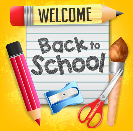 Welcome Back to School with School Supplies and a Piece of Paper on Yellow Background