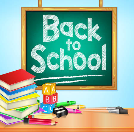 text books: Back to School Text on Hanging Green Chalkboard with Books and Other School Items. Vector Illustration