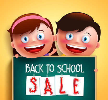 Back to school sale for school promotion written in chalkboard holding by cute boy and girl happy kids vector characters in yellow background. Vector illustration