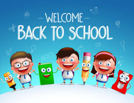 Kid students vector characters and funny school items mascot happy holding each other in a horizon for back to school background. Vector illustration Ilustração