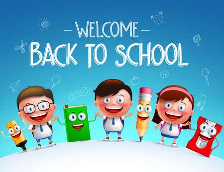 estudiante: personajes de vectores estudiantes de Niños y artículos escolares divertidos mascota feliz celebración de unos a otros en un horizonte de nuevo a fondo de la escuela. ilustración vectorial Vectores