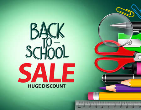 Vector back to school sale text in green background with colorful school items for school promotion. Vector illustration