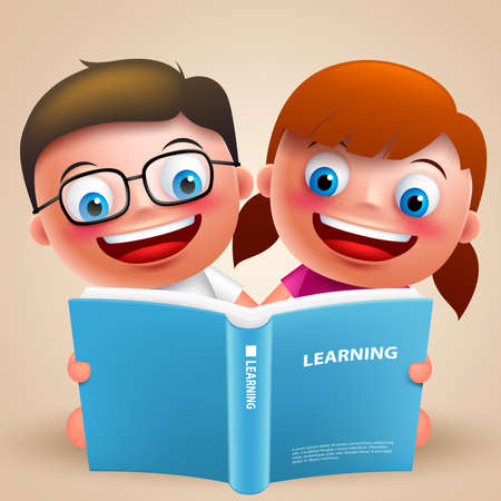 Kids reading book vector characters with happy smile and wearing eyeglasses for school design. Vector illustration