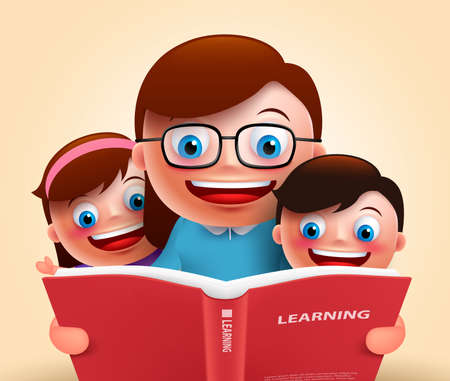male female: Reading book for story telling by happy smiling teacher and kids holding red book for learning. Vector illustration Illustration