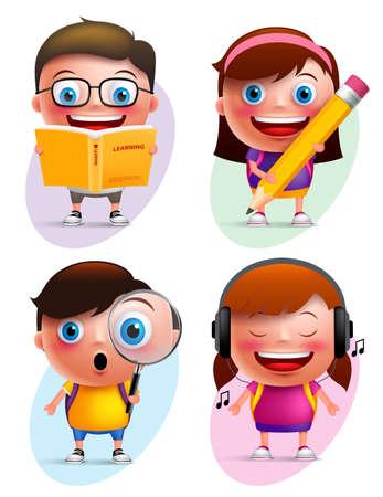 Śmieszne dzieci wektora znaków kolorowe kolekcji czytania książki, pisania, odkrywania i słuchania muzyki samodzielnie w białym tłem. Ilustracji wektorowych