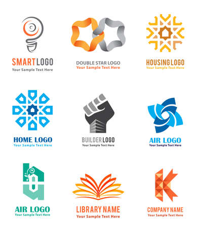 Les icônes de logo sont définies pour la marque d'identité de l'entreprise comme des idées intelligentes, des logements et des biens immobiliers isolés en fond blanc. Illustration vectorielle Logo