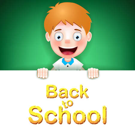 tex: Blonde Boy Student Character Holding on Green Background with Back to School Tex. Vector Illustration