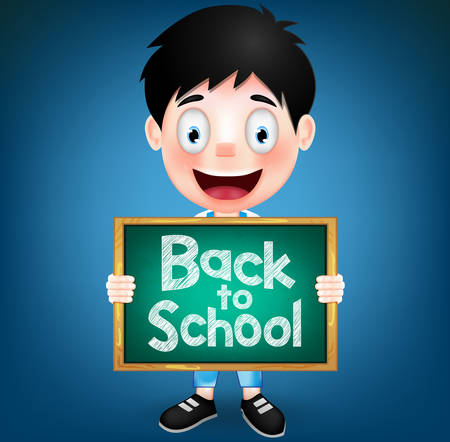tex: Smiling Boy Student Character Holding Green Chalkboard with Back to School Tex. Vector Illustration Illustration