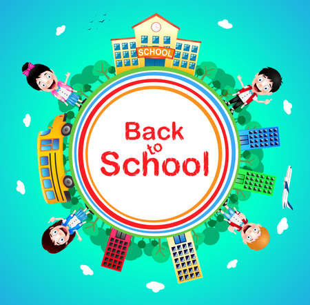 Back to School Text on a Circle with School Building and School Bus with Happy Kids Vector Characters on Blue Background. Vector Illustration Stock Illustratie