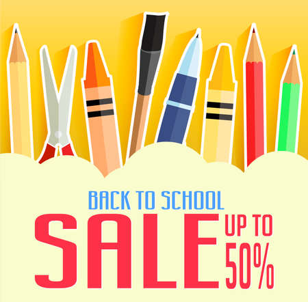 cheaper: Back to School Sale Up To 50 Percent with School Items. Promotional Design