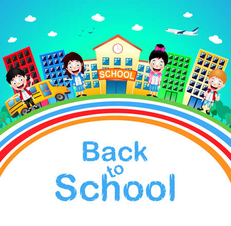 going: Cute Little Children Standing in Front of School with Buildings and School Bus Going to School. Vector Illustration.