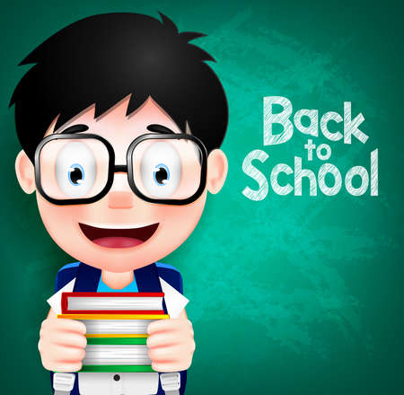 smart boy: Smart Boy Character Wearing Eyeglasses and Backpack Holding Books. Vector Illustration