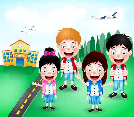 cloudy day: School Building with Happy Cute Little Kids Characters and Airplane on A Cloudy Day. Vector Illustration