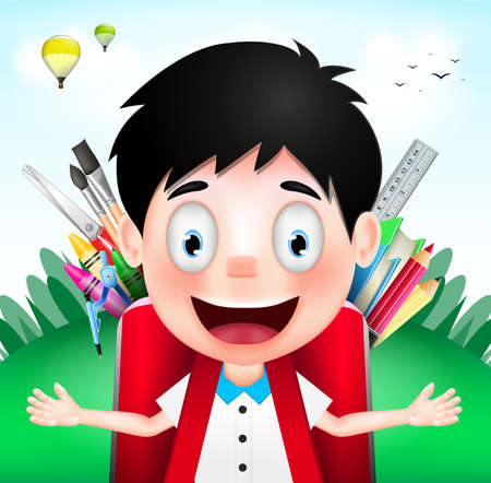 cloudy day: Smiling Boy Student Character Wearing Red Backpack full of School Supplies on A Cloudy Day. Vector Illustration Illustration