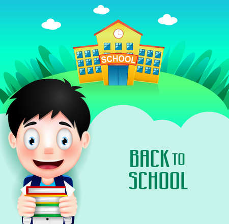 back ground: School Building with Cute Little Kid Character Going Back to School Holding Books. Vector Illustration