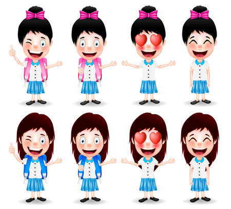 hand gestures: School Girl Characters with Different Facial Expressions and Hand Gestures on White Background. Vector Illustration Illustration