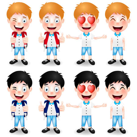 facial gestures: School Boys Character with Different Hand Gestures and Different Facial Expressions on White Background. Vector Illustration Illustration