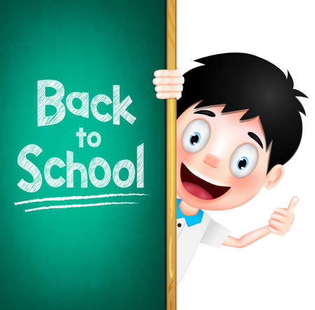 Back to School Text on Green Chalk Board with Boy Student Character at the Back. Vector Illustration
