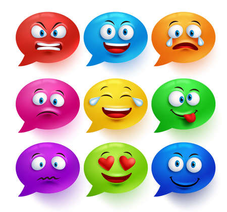 speech bubble vector: Speech bubble vector colorful set with funny facial expressions and emotions isolated in white background. Vector illustration.