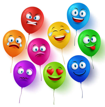 globo caras de vector conjunto de colores con expresiones faciales divertidas y diferentes emociones aisladas en el fondo blanco. ilustración vectorial