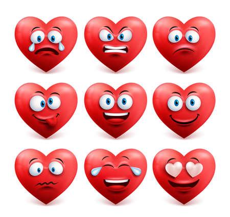 面白い表情と感情は、白い背景で隔離赤い色でハート顔のベクトルを設定します。ベクトルの図。