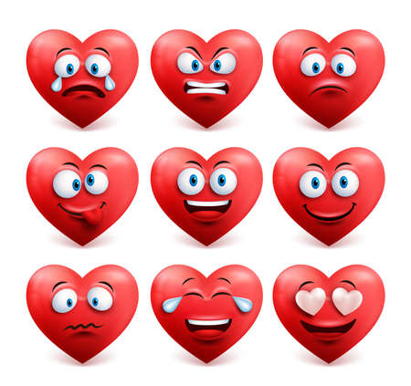 Heart face vector set in red color with funny facial expressions and emotions isolated in white background. Vector illustration.