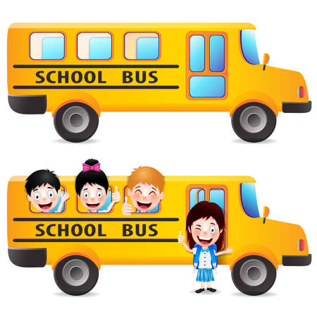 young schoolchild: Yellow School Bus With Students Vector Pack Isolated in White background