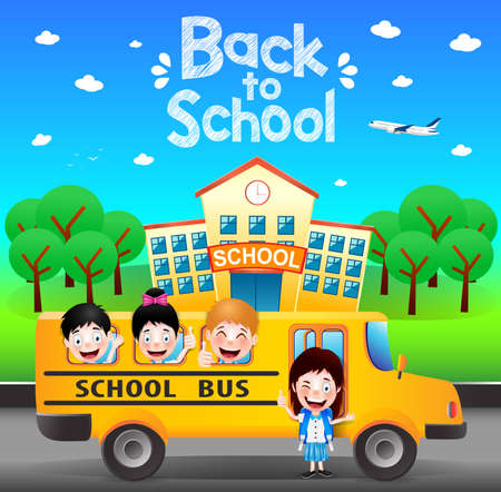 Happy Students Riding School Bus Going Back to School. Vector Illustration