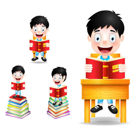student with books: Boy Student Character Reading Books Vector Illustration Illustration