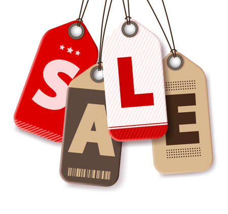 paper tags: Sale Tags Vector Isolated in White Background for Shopping Promotions and Discounts Made of Paper. Vector Illustration.