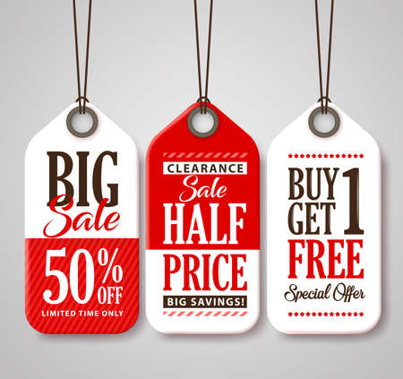 Sale Tag Design Collection Made of Paper with Different Titles for Promotion and Discounts. Vector Illustration. 向量圖像